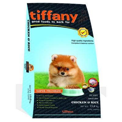 Tiffany - ทิฟฟานี ซุเปอร์พรีเมี่ยม สำหรับลูกสุนัขพันธุ์เล็ก สูตรเนื้อไก่และข้าว (ฟ้า)