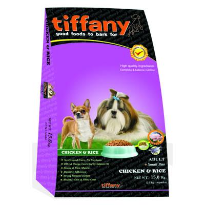 Tiffany - ทิฟฟานี ซุเปอร์พรีเมี่ยม สำหรับสุนัขโตพันธุ์เล็ก สูตรเนื้อไก่และข้าว (ม่วง)