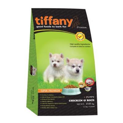 Tiffany - ทิฟฟานี ซุเปอร์พรีเมี่ยม สำหรับลูกสุนัขพันธุ์กลาง-ใหญ่ สูตรเนื้อไก่และข้าว (เขียว)