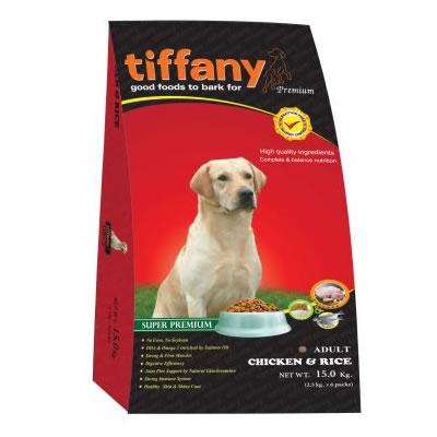 Tiffany - ทิฟฟานี ซุเปอร์พรีเมี่ยม สำหรับสุนัขโตพันธุ์กลาง-ใหญ่ สูตรเนื้อไก่และข้าว (แดง)