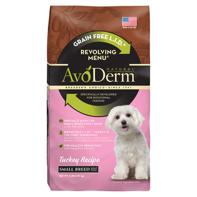 Avoderm - Small breed Grain Free Limited Ingredient Revolving Menu Turkey Recipe